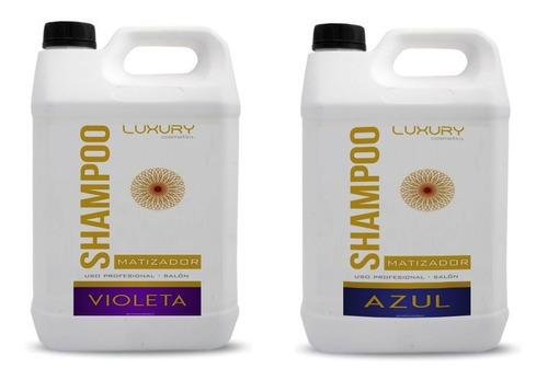 2 x 5l shampoo + crema  matizador azul o violeta env pais!
