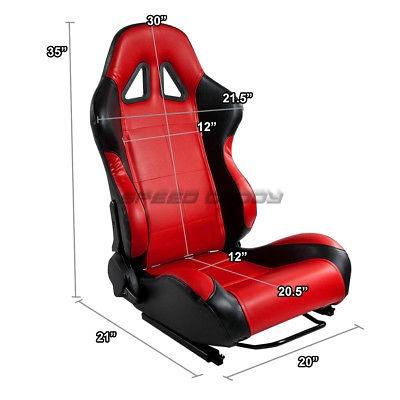 2 X RED//BLACK PVC LEATHER RACING SEATS+BRACKET FOR 92-95 HONDA CIVIC EG//EJ1//EH