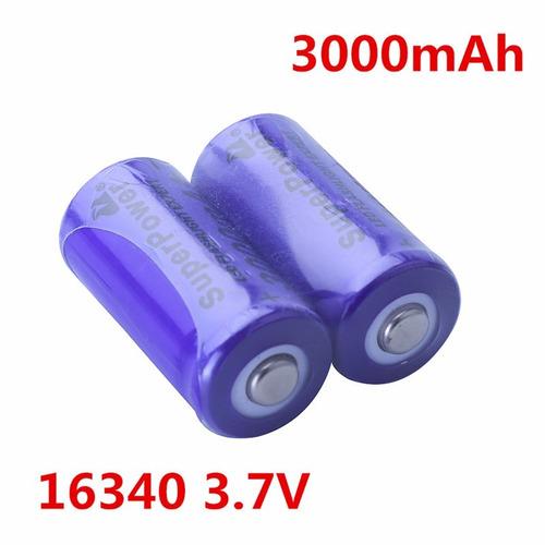 2 x bateria pila 16340 3.7v 800mah recargable cr123a