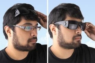2 x lentes gafas de sol hd vision wrap around dia noche