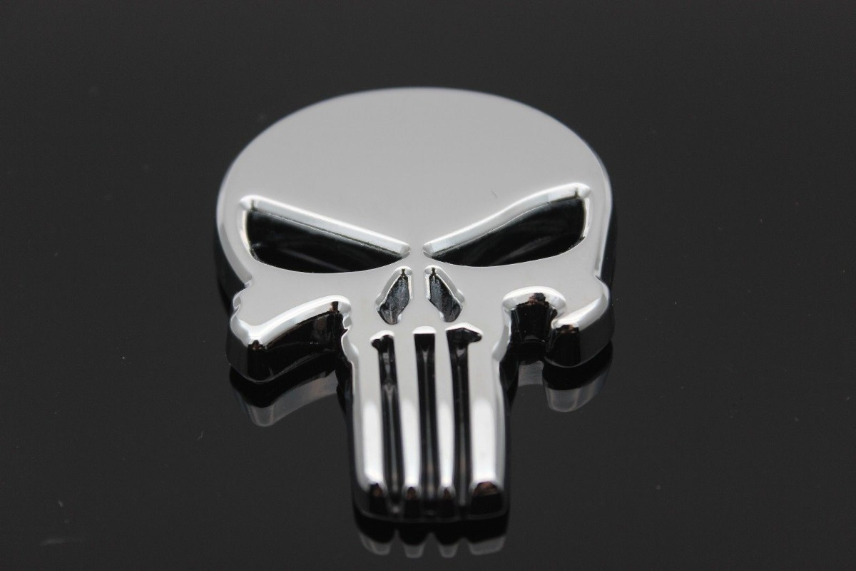 2 X Metal Punisher 3d Cráneo Esqueleto Etiqueta Insignia ...