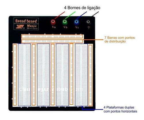 2 x protoboard 3260 furos matriz contato p/ teste circuitos