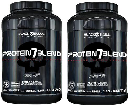 2 x whey protein 7 blend  837g  black skull - caveira preta