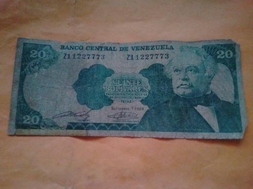 20 bolivares del año 1989 serial zi 1227773