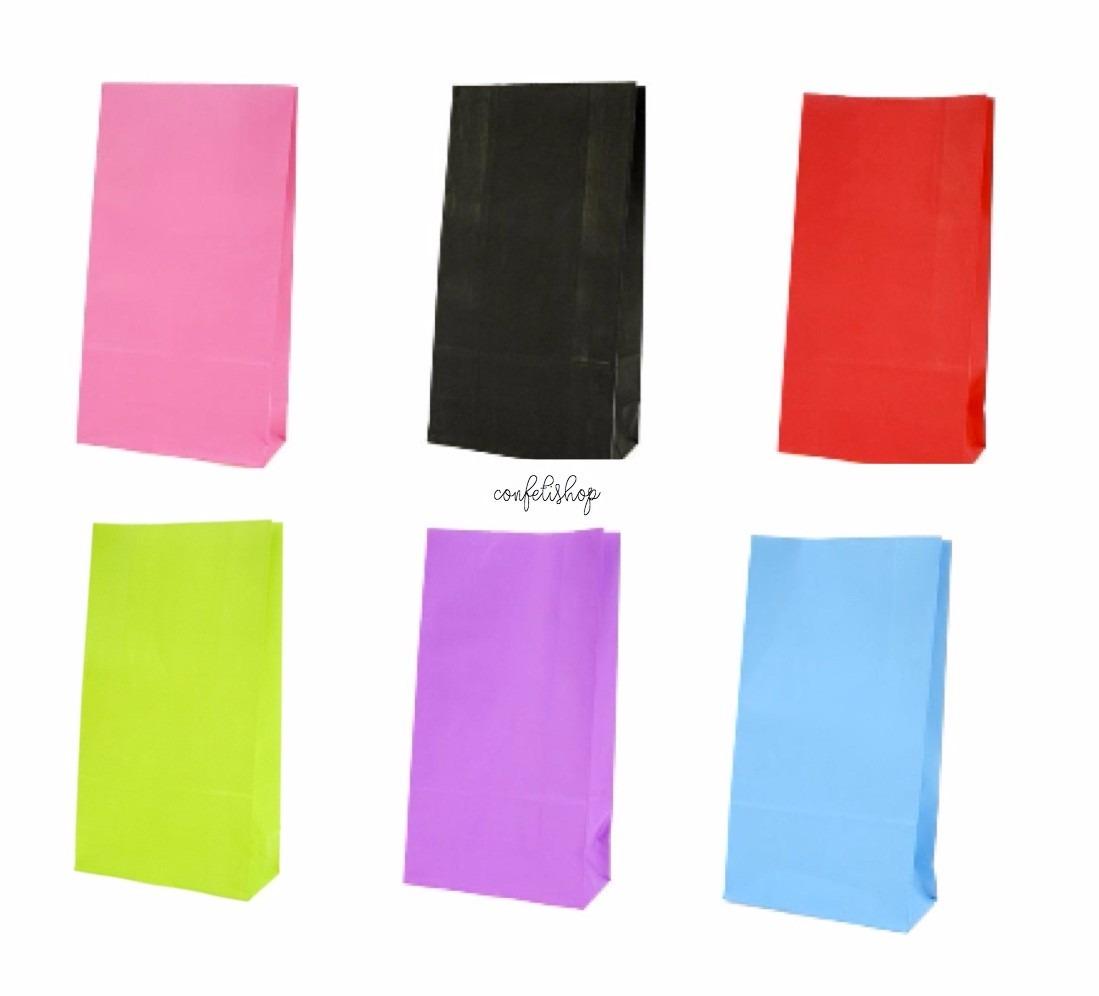 20 bolsas dulceras de papel colores para fiestas for Papel de pared precio