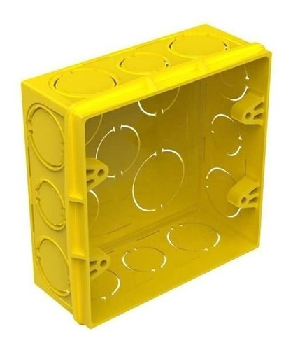 20 caixas de luz plástica 4 x 4 amarela - amanco