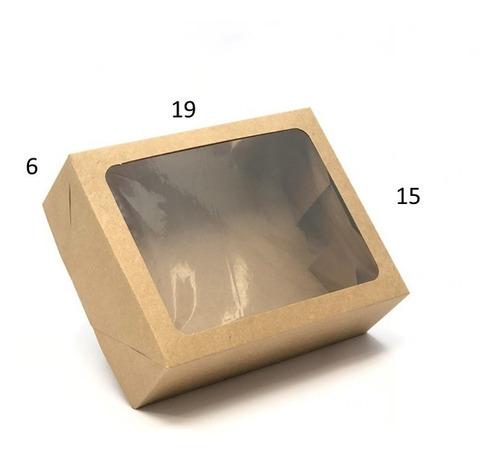 20 caixas de presente kraft 19x15x6 visor / tampa+fundo