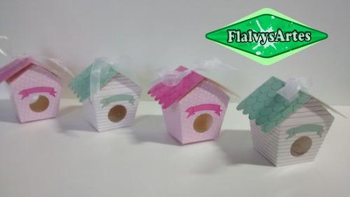 20 caixinhas casinha decorada verde ou rosa em papel