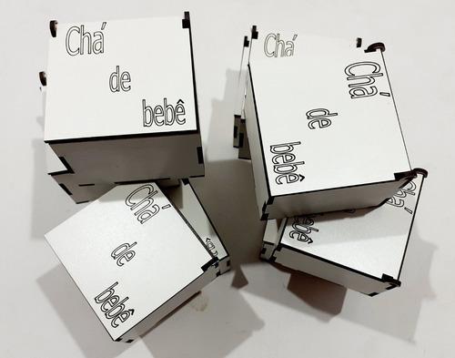 20 caixinhas personalizada chá de bebe em mdf - 7x7x5