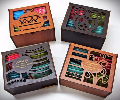 20 cajas de te 4 divisiones madera artesiana fibrofacil c/té