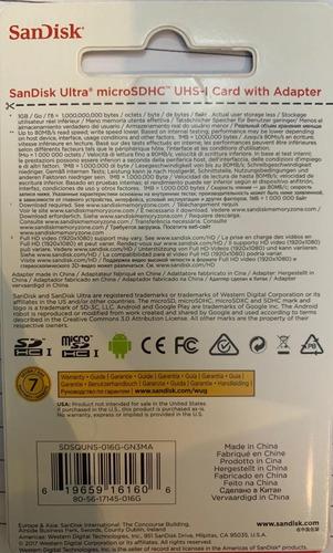 20 cartão de memória micro sd de 16gb sandisk ultra