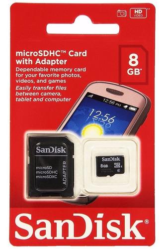 20 cartão de memória micro sdhc 8gb - c/ adaptador - sandisk