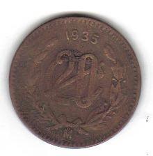 20 centavos 1935 mexico moneda lazaro cardenas escasa - hm4