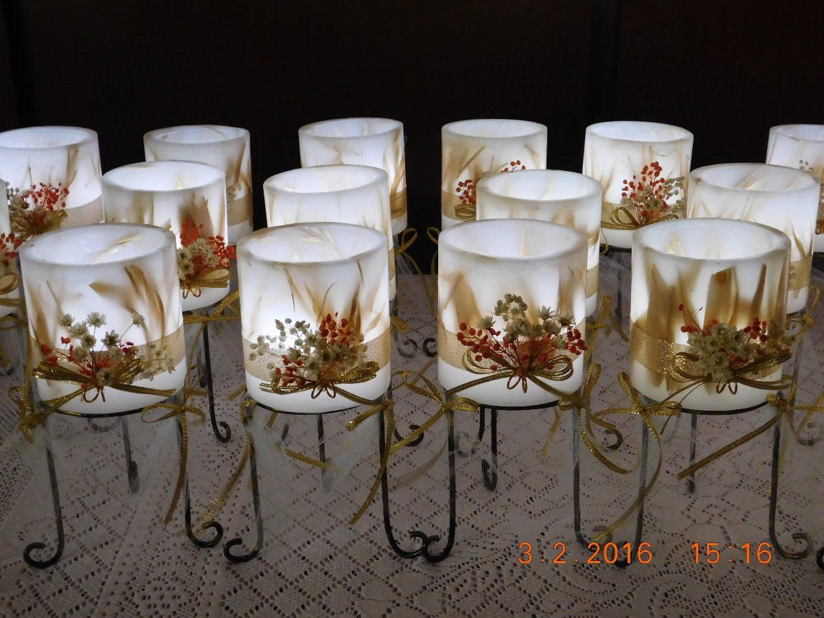centro de mesa fanal de parafina x cm con velas led