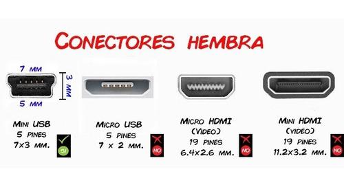 20 conectores mini usb tipo a para celulares y tablets