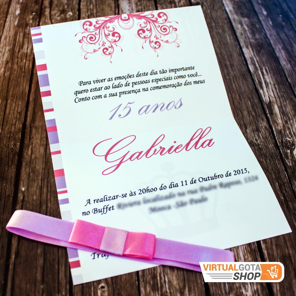 20 Convites Aniversário 15 Anos Princesa Coroa Gabriela R 37