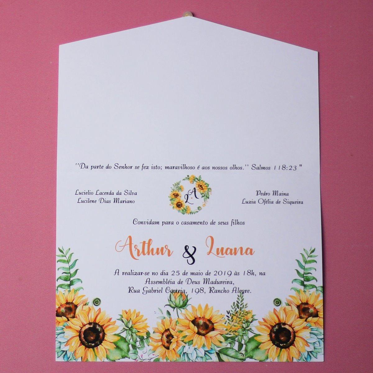 20 Convites De Casamento Girassol Simples Barato Bonito R 4480