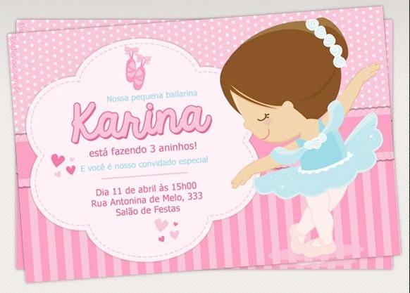 d5e5bae580 20 Convites Para Aniversario Infantil   Bailarina - R  29