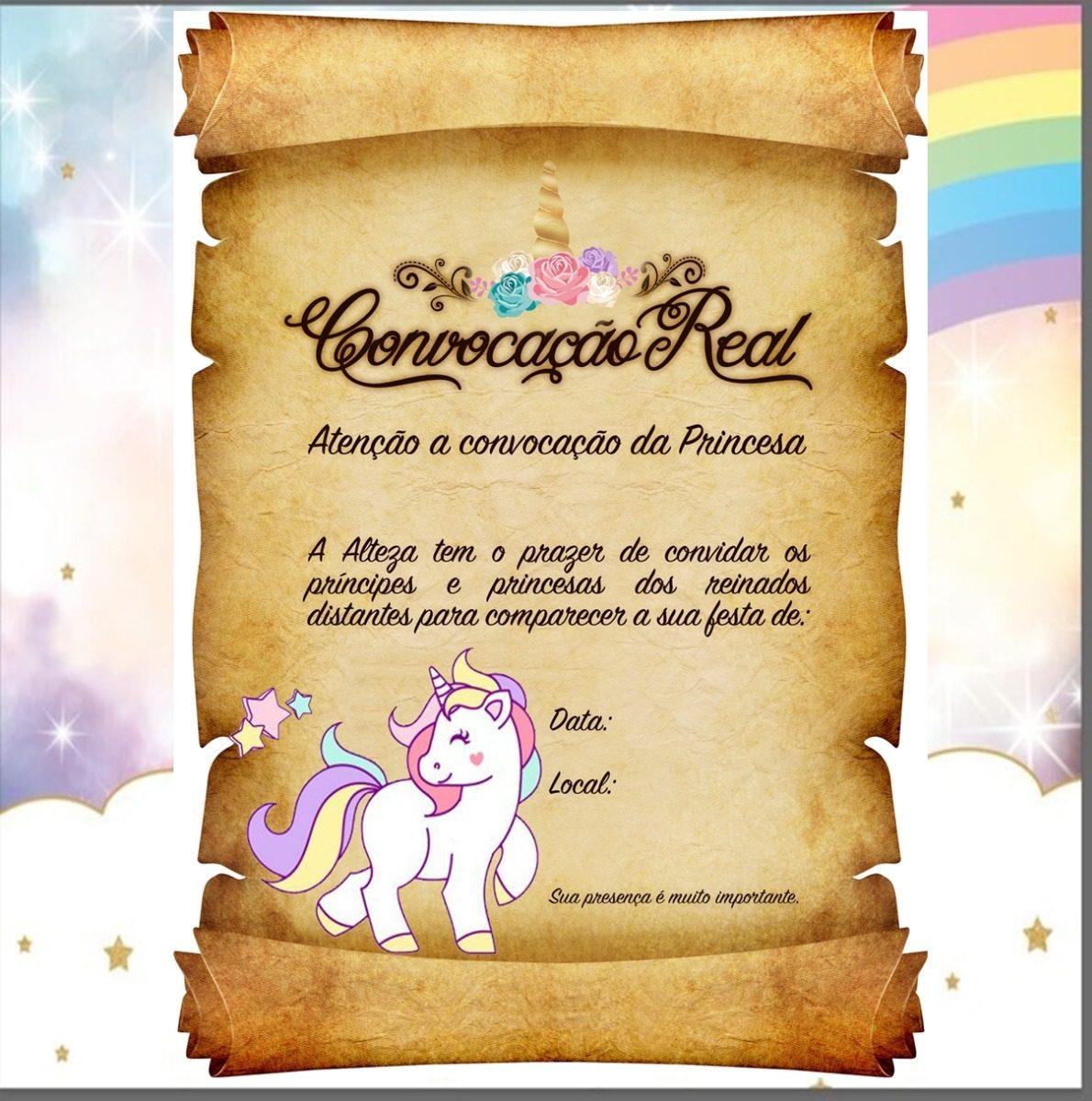 20 Convites Pergaminho Unicornio R 24 00 Em Mercado Livre
