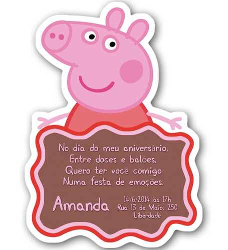20 convites personalizados com corte especial - peppa pig