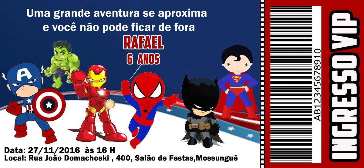 20 Convites Super Heróis Cute R 1905 Em Mercado Livre