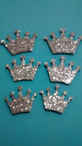 20  coroa princesa elsa prata recorte pic 2cm  adesivo