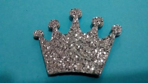 20  coroa princesa  prata recorte pic 3cm pronta entrega