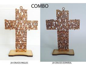 20 Cruces Ingles 10 Español 30 Cm Padre Nuestro Mdf