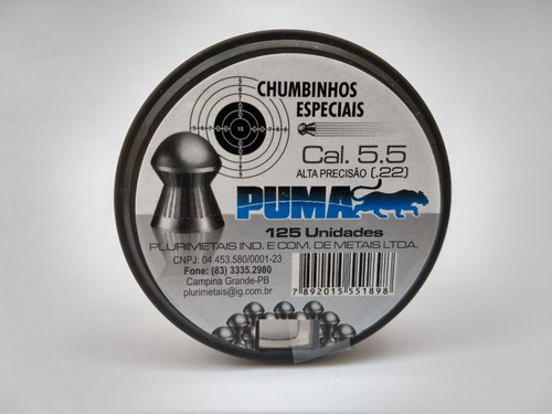 20 cxs chumbinho puma 5.5mm p/ carabina de pressão diabolô