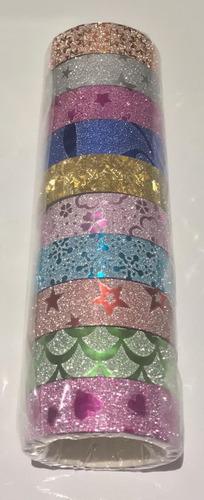 20 fitas washi tape adesiva glitter decorativa artesanato