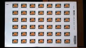 20 folhas com 42 selos carta social