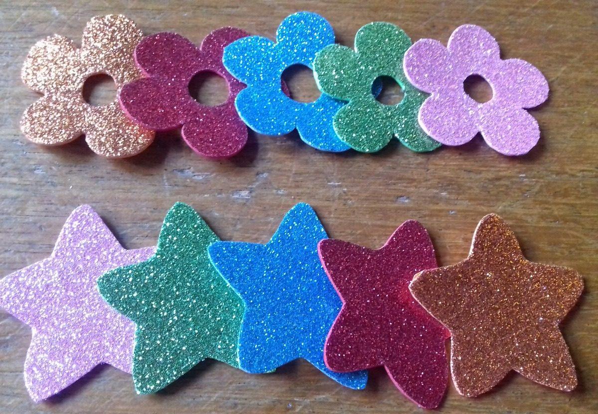 3234ec0d9 20 formas de goma eva con glitter, estrella, corazón, paloma. Cargando zoom.