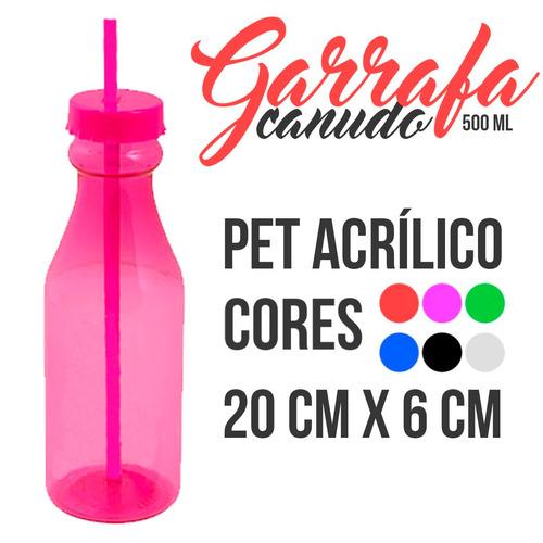 20 garrafa c/ tampa e canudo pet 500ml 6 cores p/ escolher