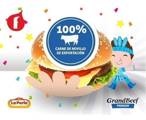 20 hamburguesas 100%carne +pan la perla  fiestissima liniers