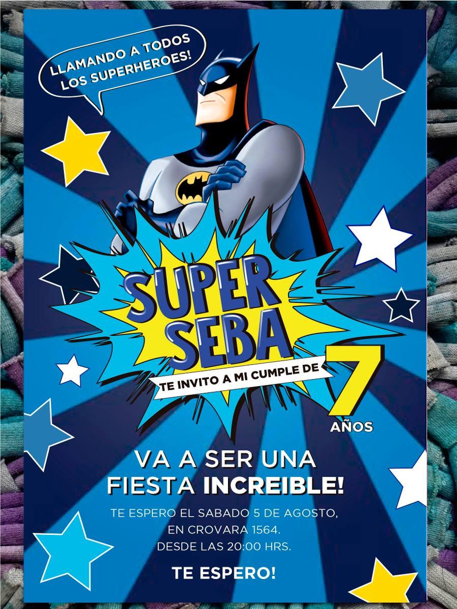 20 Invitación Batman Infantil Cumpleaños Comic