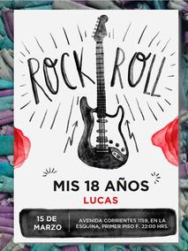 20 Invitación Cumpleaños 15 Años Rock N Roll
