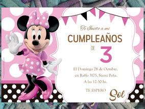 20 Invitación Cumpleaños Primer Año Minnie Mouse Disney