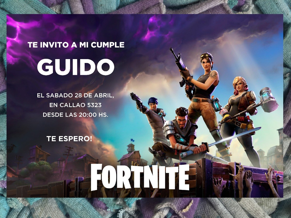 20 Invitación De Fortnite Battle Royale Videojuego