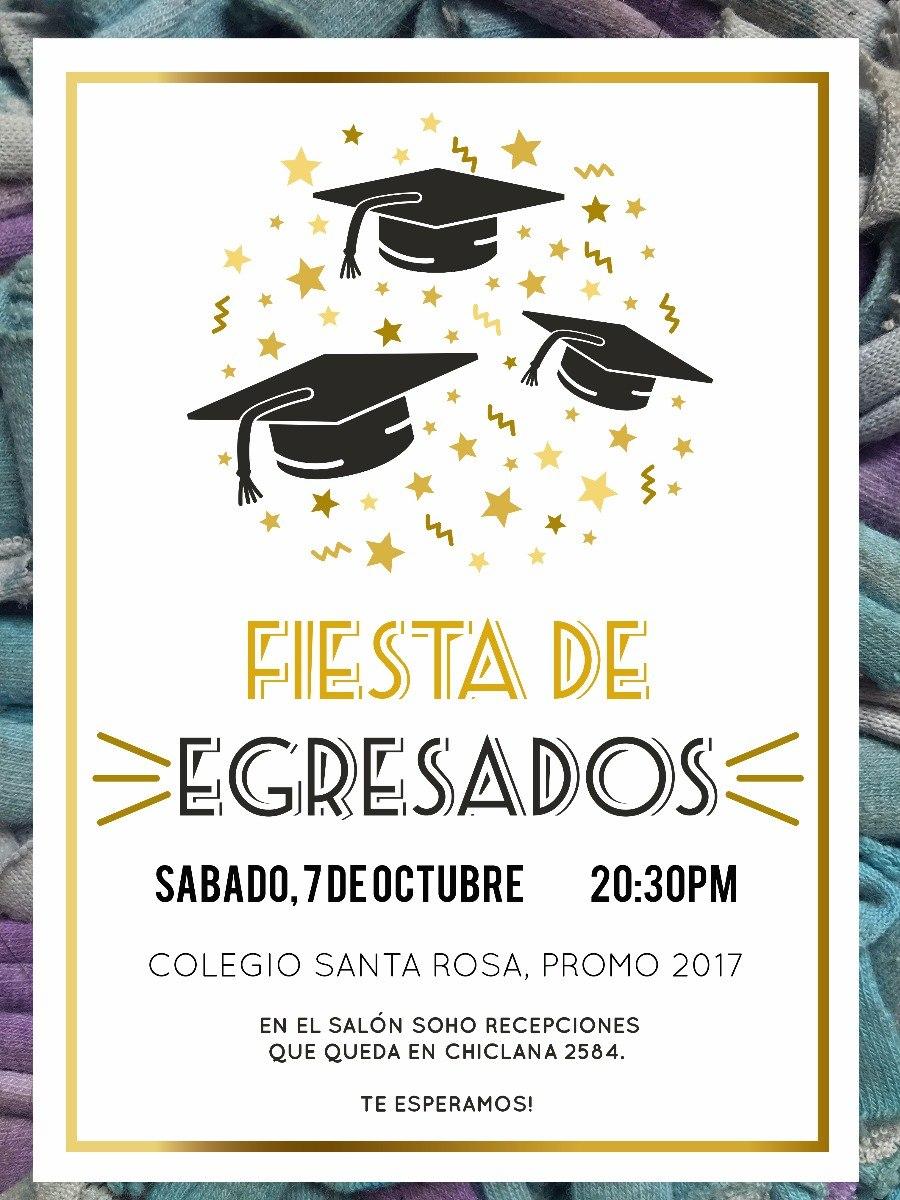 20 Invitación Egresados Graduación Primaria Secundaria Gold