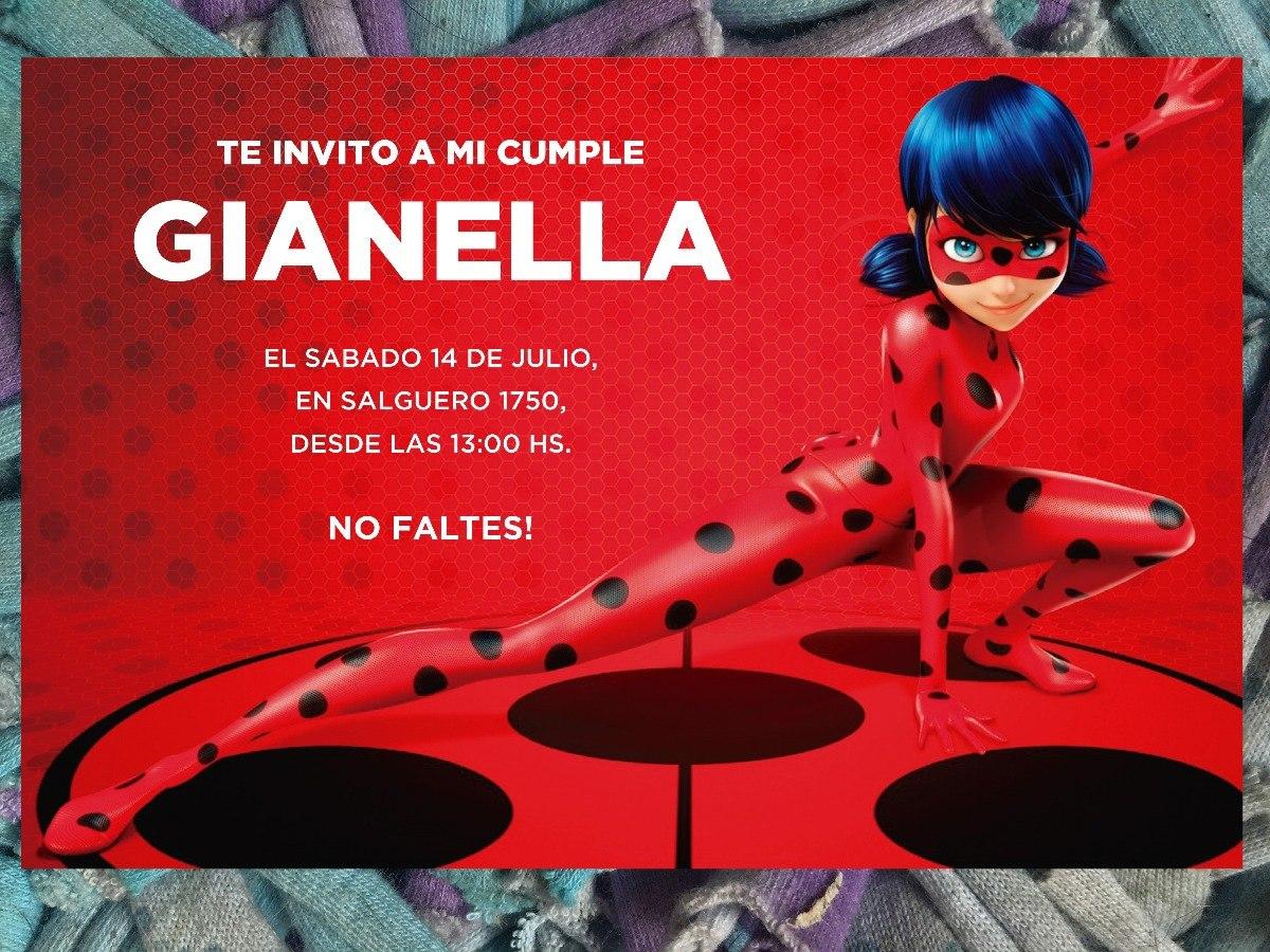 20 Invitación Ladybug Miraculous Disney Cumpleaños