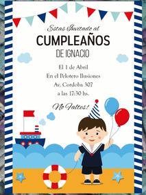 20 Invitación Marinero Cumpleaños Primer Año Bautismo