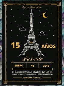 20 Invitación Paris Torre Eiffel 15 Años Cumpleaños