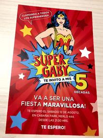 20 Invitaciones Cumpleaños Quince Mujer Maravilla Comic