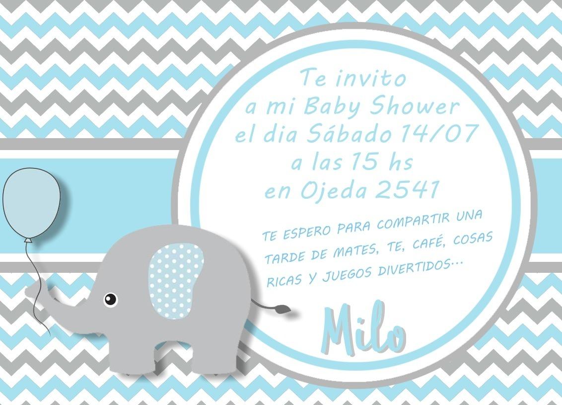 20 Invitaciones De Cumpleanos Baby Shower Elefante 120 00 En