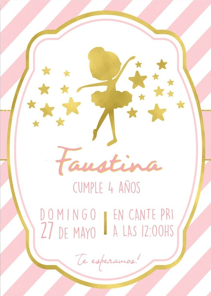20 Invitaciones De Cumpleanos Bailarina Ballet 120 00 En Mercado