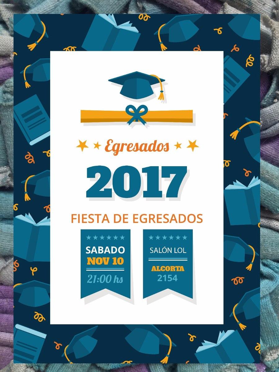 20 Invitaciones Egresados Graduación Primaria O Secundarias