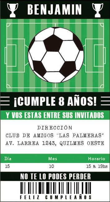 20 Invitaciones Futbol Deporte P Cumpleaños