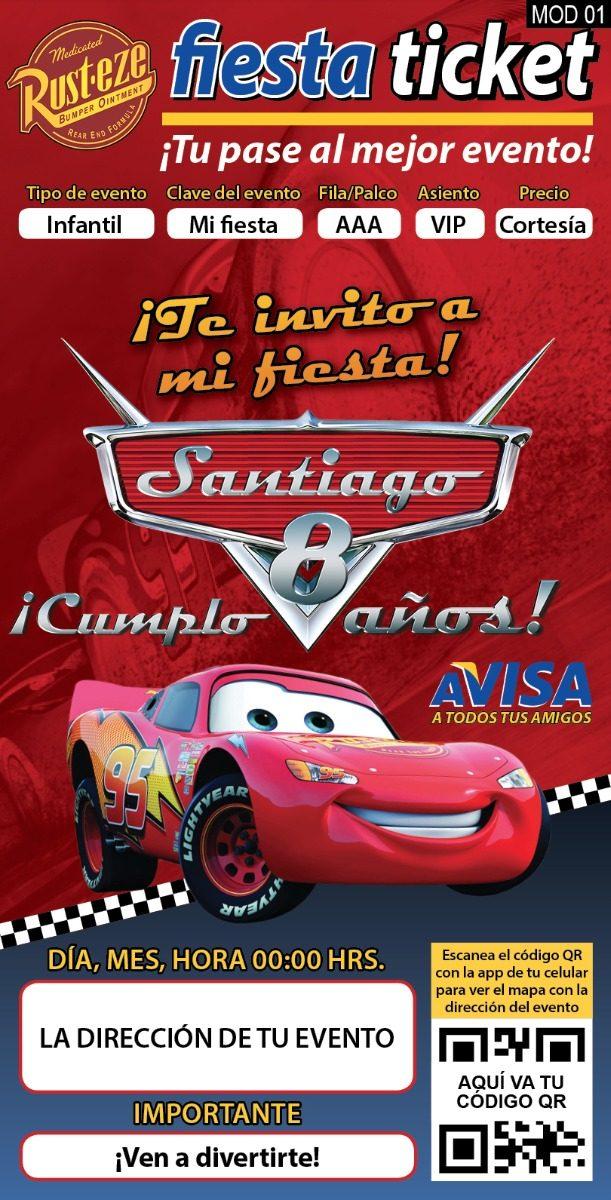 20 Invitaciones Impresas Cars 3 Pixar Personalizadas