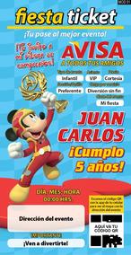 Mickey Sobre Ruedas Para Fiesta Invitaciones Y Tarjetas En