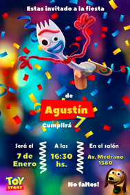 20 Invitaciones Infantil Toy Story 4 Forky Woody Buzz